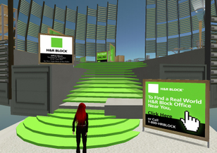 H&R Block's branded Island in Second Life