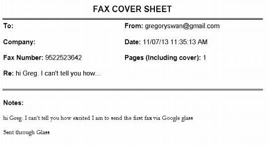 first fax sent through google glass