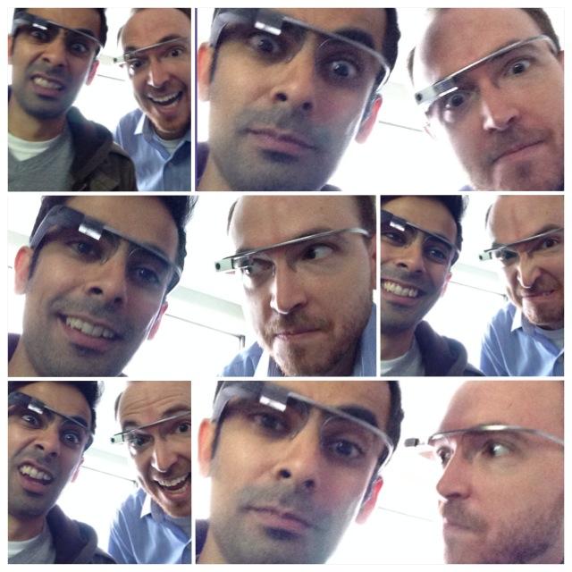 Ozzy Farman and Greg Swan wearing Google Glass