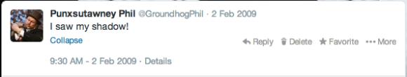 Punxsutawney Phil Twitter 2009