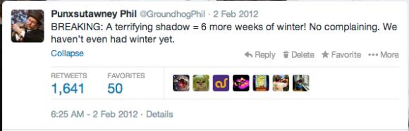 Punxsutawney Phil Twitter 2012