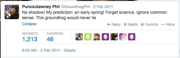 Punxsutawney Phil Twitter 2011