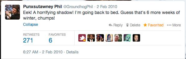 Punxsutawney Phil Twitter 2010