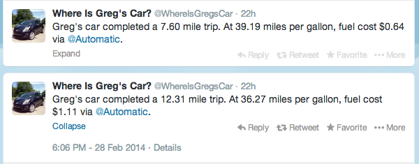 Where is Greg's Car Twitter account via Automatic app